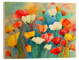 Wood print  Colorful poppies - siegfried2838