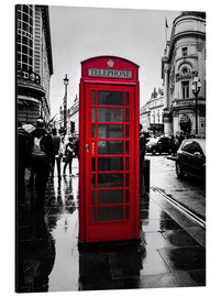 Aluminium print  Red telephone booth in London - Edith Albuschat
