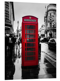 Foam board print  Red telephone booth in London - Edith Albuschat