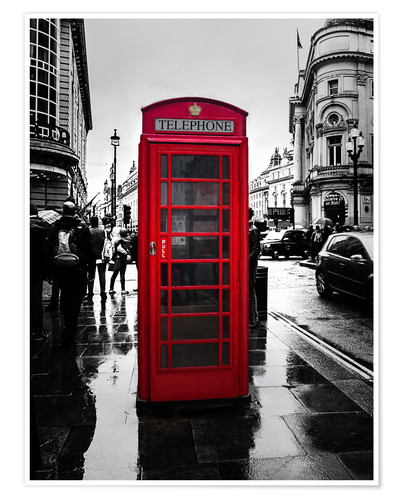Premium poster Red telephone booth in London