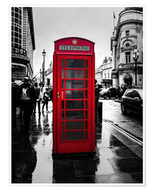 Premium poster  Red telephone booth in London - Edith Albuschat