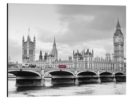 Aluminium print  Westminster bridge with look at Big Ben and House of parliament - Edith Albuschat