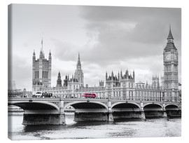 Canvas  Westminster bridge with look at Big Ben and House of parliament - Edith Albuschat