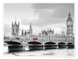 Premium poster Westminster bridge with look at Big Ben and House of parliament