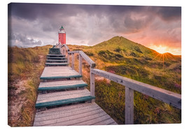 Canvas print  Dawn at lighthouse 'Red Cliff' (Kampen / Sylt) - Dirk Wiemer