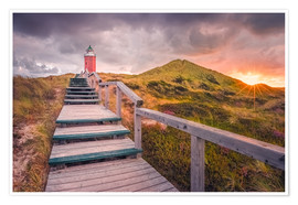 Premium poster  Dawn at lighthouse 'Red Cliff' (Kampen / Sylt) - Dirk Wiemer