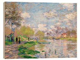 Wood print  Spring by the Seine - Claude Monet