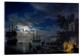 Acrylic print  Night: Port in the moonlight - Claude Joseph Vernet