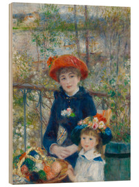 Wood print  Two sisters - Pierre-Auguste Renoir