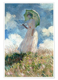 Premium poster  Woman with parasol turned to the left - Claude Monet