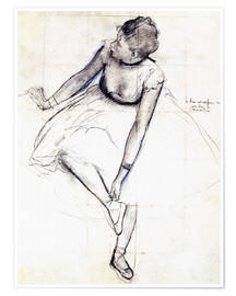 Premium poster  Dancer adjusting her shoe - Edgar Degas