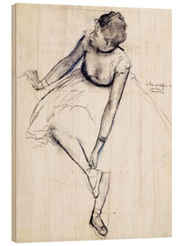 Wood  Dancer adjusting her shoe - Edgar Degas