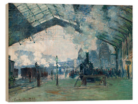 Wood print  Saint Lazare Train Station: the train from Normandy - Claude Monet