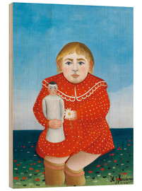 Wood print  The girl with a doll - Henri Rousseau
