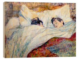 Wood print  The Bed - Henri de Toulouse-Lautrec