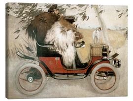 Canvas  Casas and Romeu in an automobile - Ramon Casas i Carbo