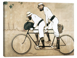 Canvas  Casas and Romeu on a tandem - Ramon Casas i Carbo
