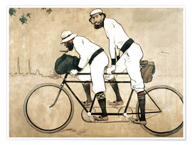 Premium poster  Casas and Romeu on a tandem - Ramon Casas i Carbo
