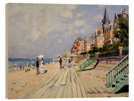 Wood print  The beach at Trouville - Claude Monet