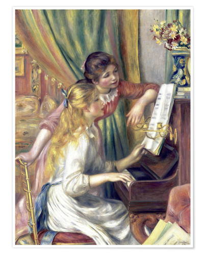 Premium poster Two girls at the piano