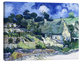 Canvas  Thatched cottages at Cordeville - Vincent van Gogh