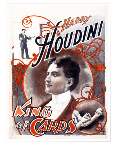 Premium poster Harry Houdini, King of Cards