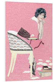 Foam board print  pink books - Clarence Coles Phillips