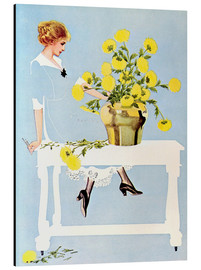Aluminium print  Housekeeper with bouquet - Clarence Coles Phillips