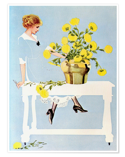Premium poster Housekeeper with bouquet