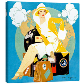 Canvas  traveling Lady - Life magazine 1927 - Clarence Coles Phillips