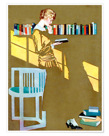 Poster  Reading in front of the bookshelf - Clarence Coles Phillips