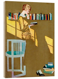 Wood  Reading in front of the bookshelf - Clarence Coles Phillips