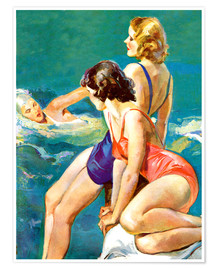 Premium poster  3 women at the sea - John La Gatta