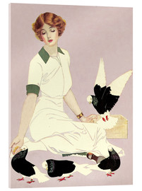 Acrylic print  Woman with Pigeons - Clarence Coles Phillips