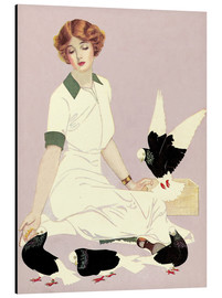 Alu-Dibond  Woman with Pigeons - Clarence Coles Phillips