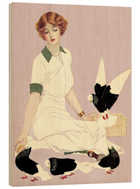 Wood print  Woman with Pigeons - Clarence Coles Phillips
