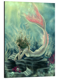 Aluminium print  Reading Mermaid - Lost Books - Tiffany Toland-Scott