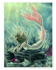 Premium poster Reading Mermaid - Lost Books