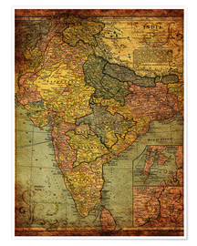 Premium poster  India 1903 - Michaels Antike Weltkarten
