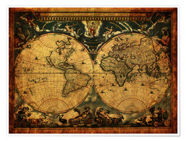 Premium poster  World 1664 - Michaels Antike Weltkarten