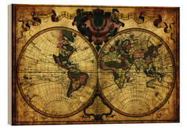 Wood print  World 1720 - Michaels Antike Weltkarten