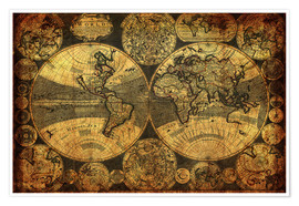 Premium poster  World 1702 - Michaels Antike Weltkarten