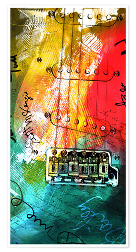 Premium poster Guitar colorful collage