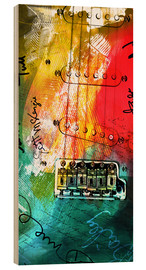 Wood  guitar music colorful collage rock n roll - Michael artefacti