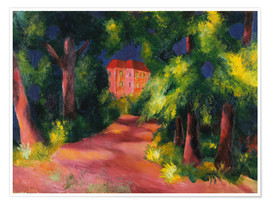 Premium poster  The red house at the park - August Macke