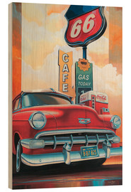 Wood print  Route 66 Cafe - Georg Huber