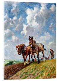 Acrylic print  Ploughing the Fields - George Wiliam Horlor