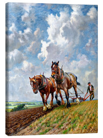 Canvas print  Ploughing the Fields - George Wiliam Horlor