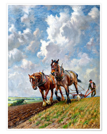 Premium poster Ploughing the Fields