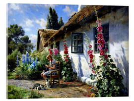 Acrylic glass  Knitting girl in front of a hollyhock - Peder Mork Mönsted